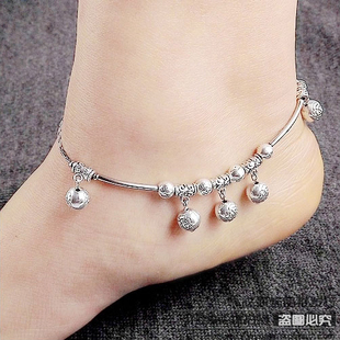 National Jewelry holiday gift Miao Silver New Featured Female models handmade original Vintage anklet 10068
