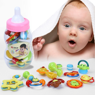 Big bottle newborn baby puzzle rattle rattle combination package baby toys 0 1 years old