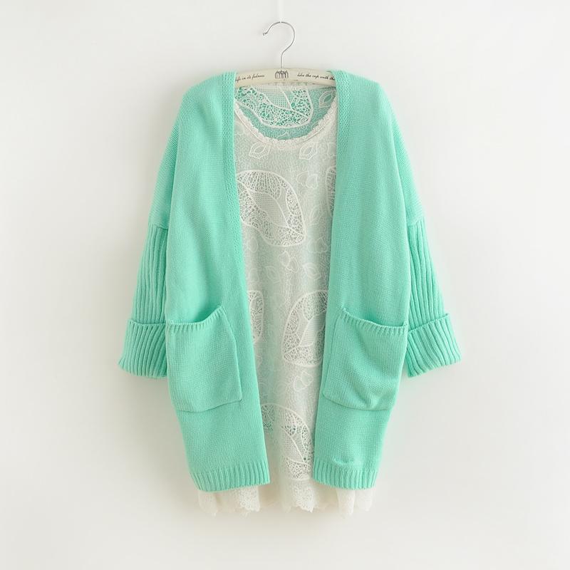 Вязать кардиган женский колледж в осенний ветер долго loose сплошной цвет Корея Корейский плюс размер свитер пальто