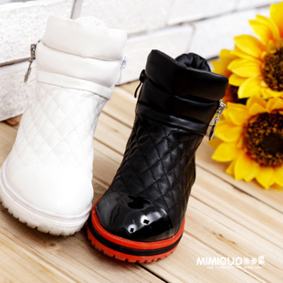 Spring 2016 models boys and girls fall and winter PU leather Quilted side zipper high-top boots / Children's Shoes