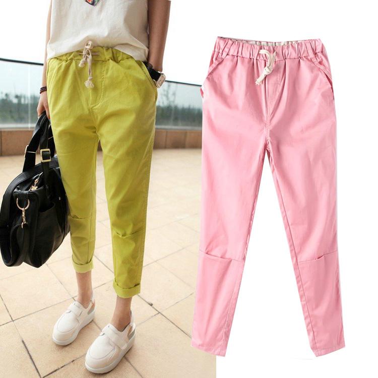 2014 весной новый корейской моды конфеты девять летом одежда loose хлопка брюки упругие талии брюки/брюки Джокер