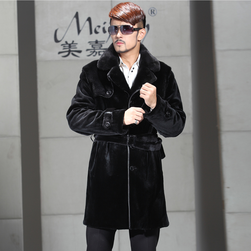New imported mens gold medal mink coat whole mink windbreaker Haining mink sheared fur coat mink velvet coat