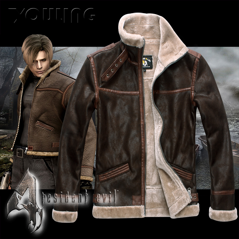 Biochemical crisis 4leon Lyon same coat imitation fur one mens fur slim short Motorcycle Jacket