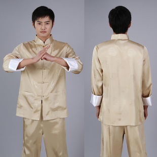 Stayed soft silk costume costume men s shirt Set Chinese practice tai chi clothing Morning service