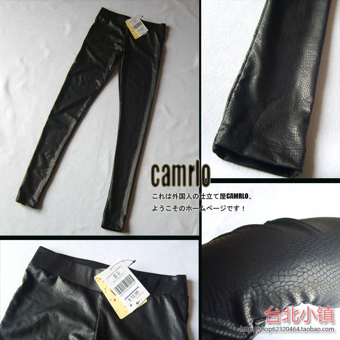 Улица Испании мода оригинальный змея Мэтт трещины на фанерованные в черные кожаные леггинсы лосины леггинсы