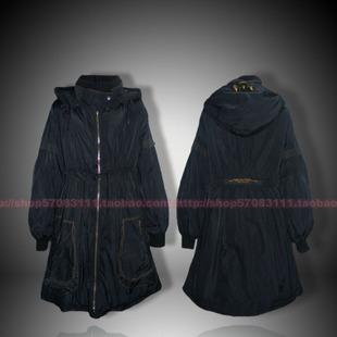 2011 New COP COPINE France Occupation lantern sleeve waist long section of thin female hooded padded coat jacket