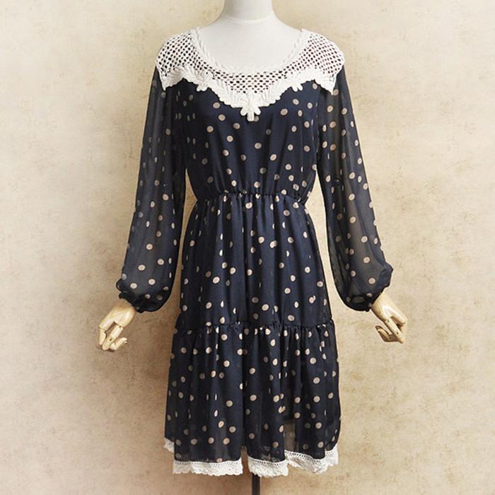 日系甜美春装新品2012雪纺公主洋装淑女装春季连衣裙长袖