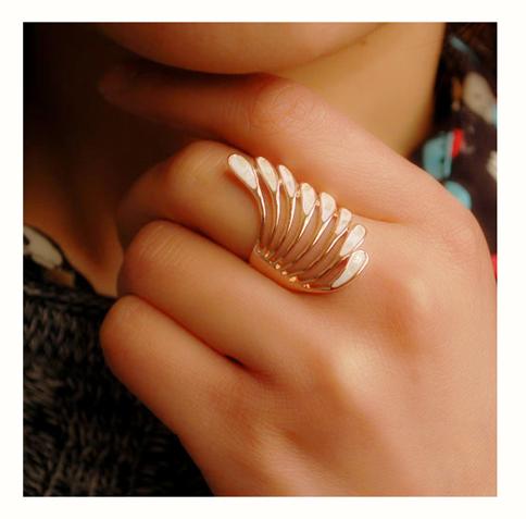Стильный палец кольцо кольцо девушки Павлин перо ангел крылья корейской моды женский палец кольцо