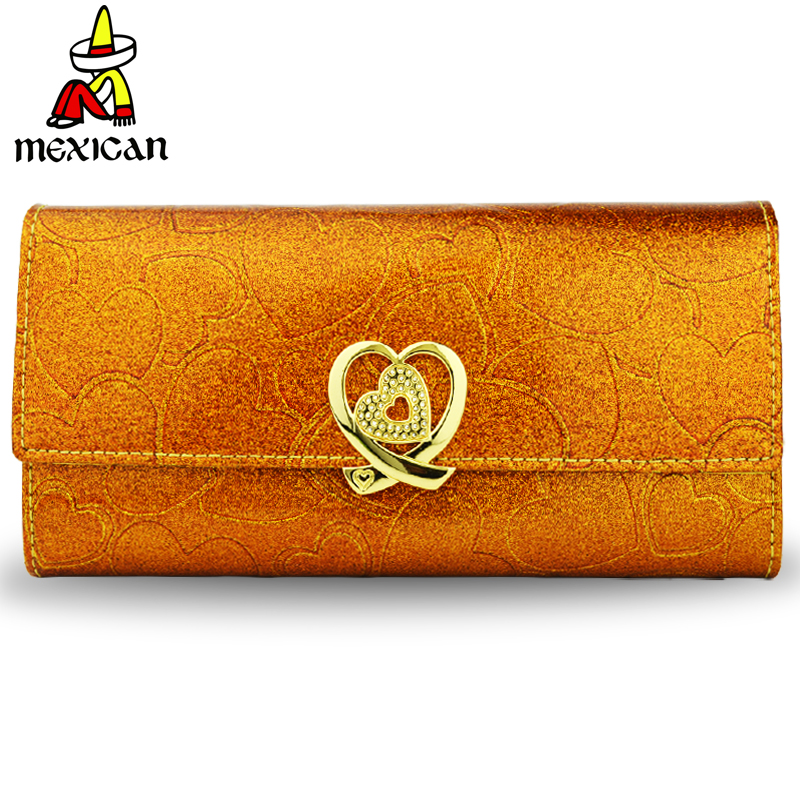 Scarecrow wallet womens New Genuine Leather Korean three fold large capacity zipper double lock golden Wallet
