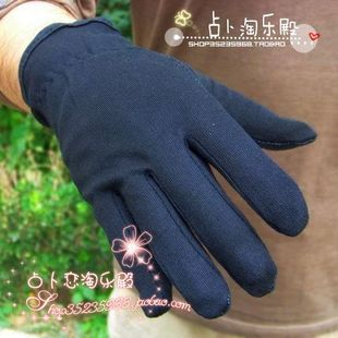Cotton Men Women driving gloves slip gloves Epoxy black and white gloves plastic gloves drivers gloves sunscreen