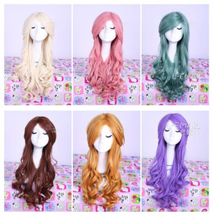 Lan Meier cos wig Japanese Harajuku air volume oblique bangs fluffy long curly hair cosplay