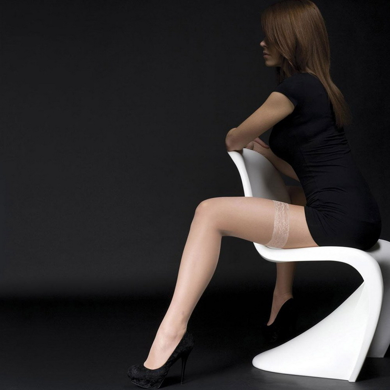 �I美之密语�I英国直送 10d超薄 性感蕾丝花边 防滑脚尖加固长筒袜