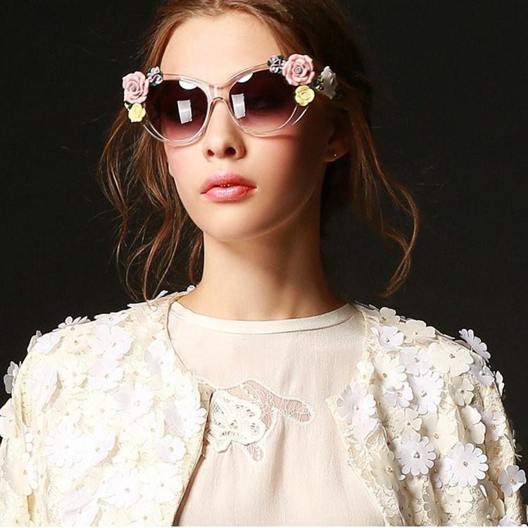 2014 новые трехмерные цветы Европы, барокко личность большой пляж солнцезащитные очки женщина солнцезащитные очки очки