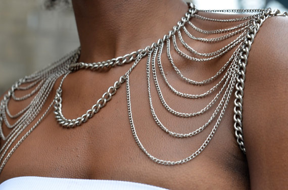 2016 European and American fashion alloy multi-layer tassel shoulder chain wear double layer alloy necklace womens shoulder chain