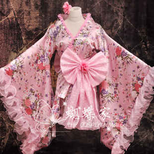 1532 home improvement butterfly cartoon clothing kimono style dress Lolita double cherry pink version