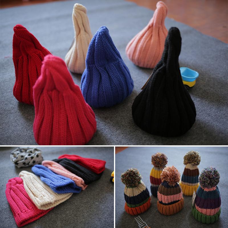 2015 года ребенок осень/зима шляпы вязать шерсти шляпа мальчиков указал шапка шапки ребенка соску конфеты цвет почта