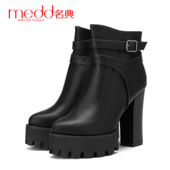 Name code 2015 winter new style high heel slip Martin boots women short flashes, thick-soled platform boots belt buckle side zip boots