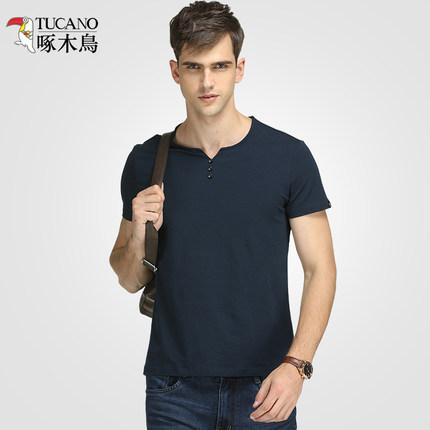 【啄木鸟】夏季男士纯色短袖t恤
