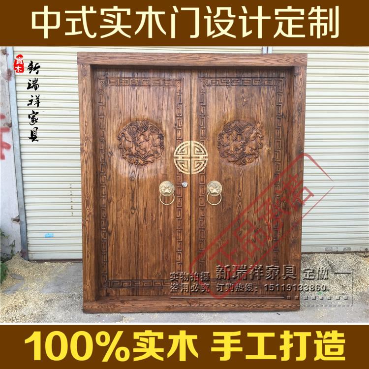 中式大门实木门榆木门浮雕门板工厂直销老榆木庭院门仿古门进户门