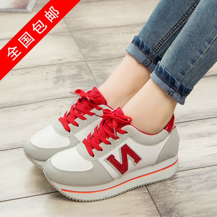 official photos 823ca c71fc Korea n female Forrest Gump tied shoes with thick-soled sneakers and women  Korean cakes fall shoes leisure shoes women