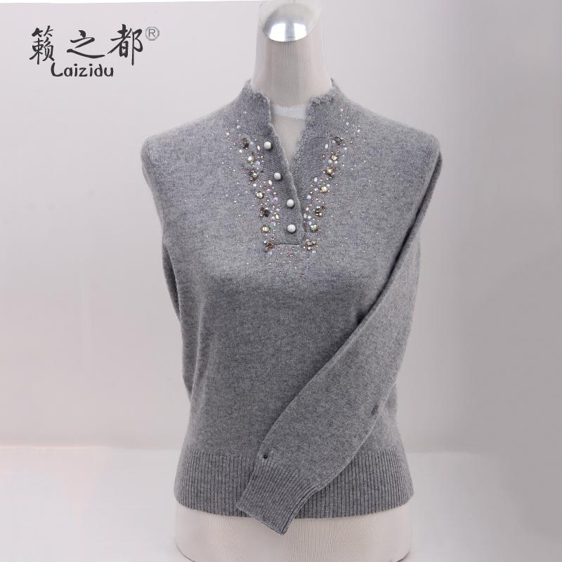 籁之都2019秋冬新品女装精品女士毛衣女羊绒衫V领原产地山羊绒衫
