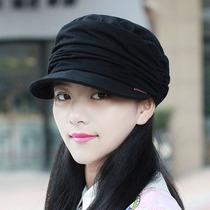 帽子女韩版软沿鸭舌帽秋冬加绒褶皱平顶帽大码男帽显脸小布帽百搭