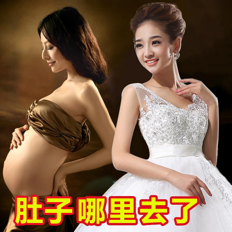 Беременная женщина высокой талией Свадебные платья 2015 летние новые плечи до хвоста слова большой корейский принцесса Похудение