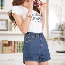 In the summer of 2015 new summer wear loose high waist jeans shorts women show thin hot pants restoring ancient ways of cultivate one's morality show thin joker wide feet