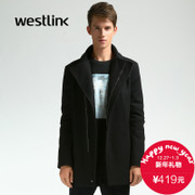Westlink/West New England 2015 winter wool woolen cloth zipper coat long bi-fold men's jacket