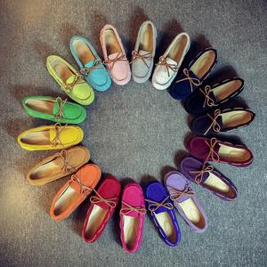 春秋款豆豆鞋女真皮平底大码单鞋舒适休闲鞋防滑孕妇鞋开车鞋