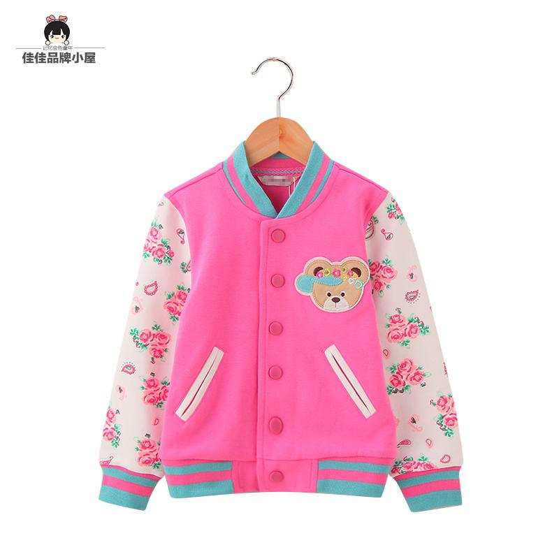 Пальто осеннее 2015 детей одежду для девочек Корейский печати рукав случайные свитер одежда рубашки детей бейсбол одежда