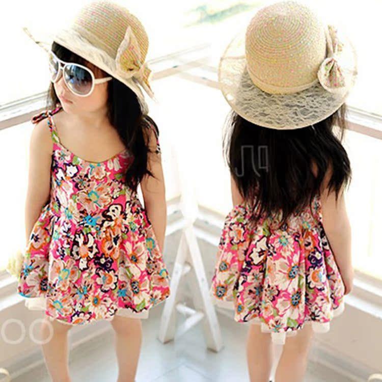 ESPRIT дети девочек цветочные платья летом 2015 Новый корейский принцесса юбки платья пляж o 2-7