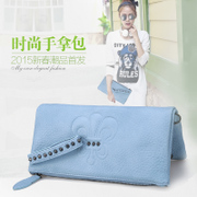 Clutch bag women 2015 summer tide Korean bulk embossed large zip around wallet clutch bag women bag rivet bag