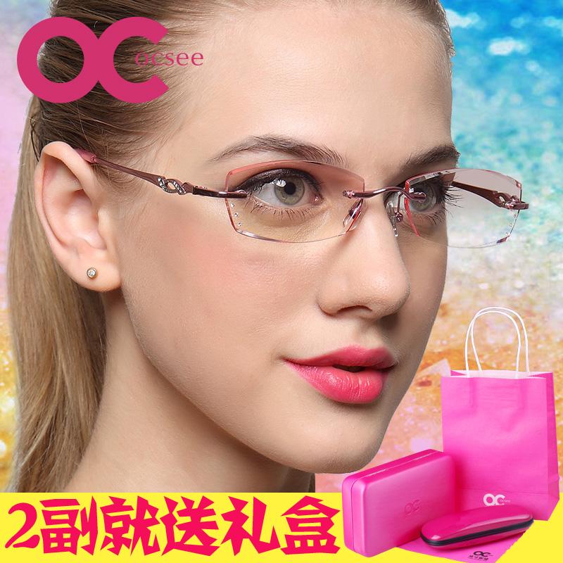 OCSEE чтение очки кристалла алмаза передний край ультралайт бескаркасных бренда высококлассные мужчин и женщин импорта радиационного старения