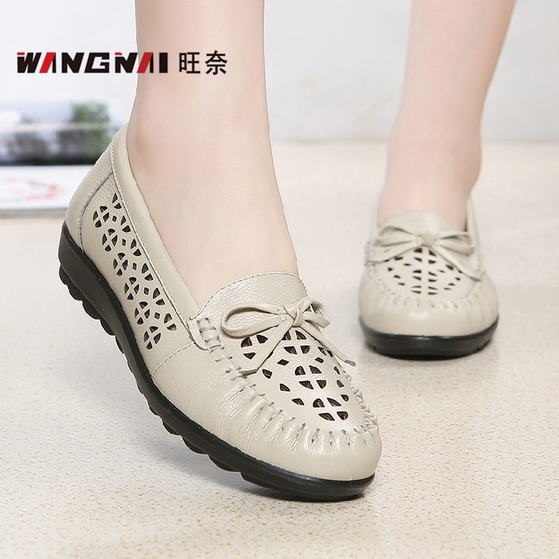 43M white soft leather hollow mesh leather shoes 42 leather anti-skid elderly sandals 70 womens 80 summer 33 middle-aged mothers shoes