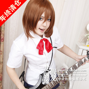Alice K ON Light tone girls Hirasawa Yui mixed light brown short hair MSN wig cos