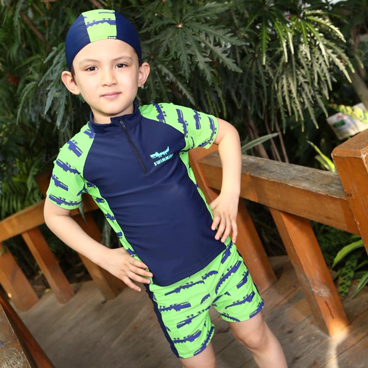兒童遊泳衣男孩套裝男童分體防曬中大童學生加大碼胖寶寶溫泉泳裝