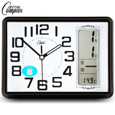 Compas mute clock calendar bedroom quartz clock fashion square clock simple electronic clock pastoral creative desk clock