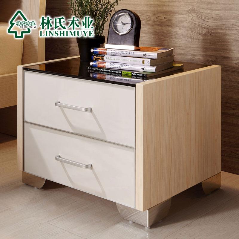 林氏木業床頭櫃 簡約 兩抽屜收納床頭櫥小床頭桌玻璃 818^~