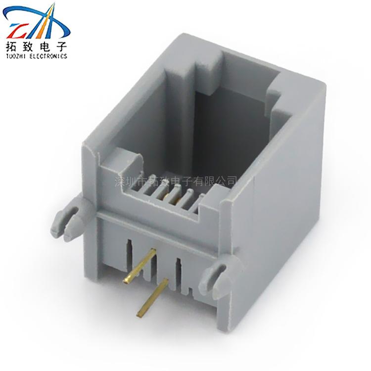 厂家直销电信猫路由器 通讯接口 pcb-6p2c p灰 电话线插座