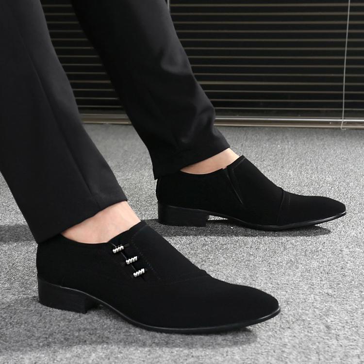 韩版潮流皮鞋英伦男款流行套脚休闲发型师鞋子磨砂皮一脚蹬尖头鞋