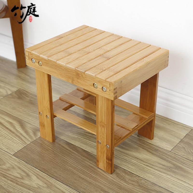 竹庭竹凳子楠竹納涼凳換鞋凳簡約兒童凳子小板凳折疊小矮凳子板凳