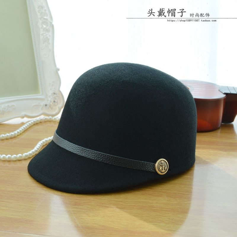 Autumn and winter lady British retro Knight hat pure wool equestrian hat duck tongue cap female baseball cap top hat