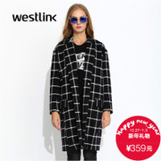 Westlink/West New 2015 winter eldest daughter dropped shoulders loose Plaid wool woolen cloth coat jacket