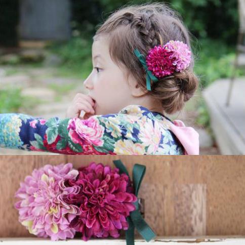 热销21件需要用券韩国儿童仿真花朵盘发发饰女童发夹侧边夹蝴蝶结发卡夹子和服配饰