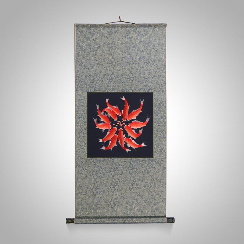 江南绣庄 中式客厅餐厅玄关卷轴画年年有余手工苏绣一团和气