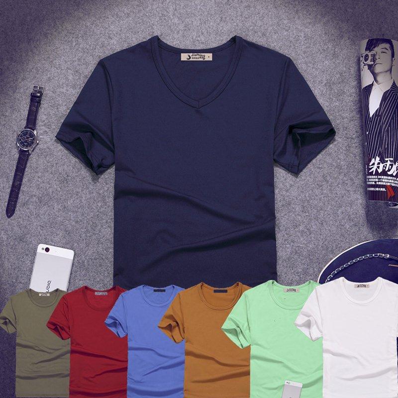 夏季V领短袖t恤男士特价9.9元包邮批发打底衫大码秋衣肥胖人半袖T