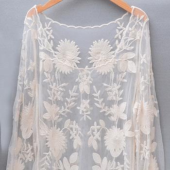 蕾丝长袖镂空网衫比基尼沙滩防晒衣
