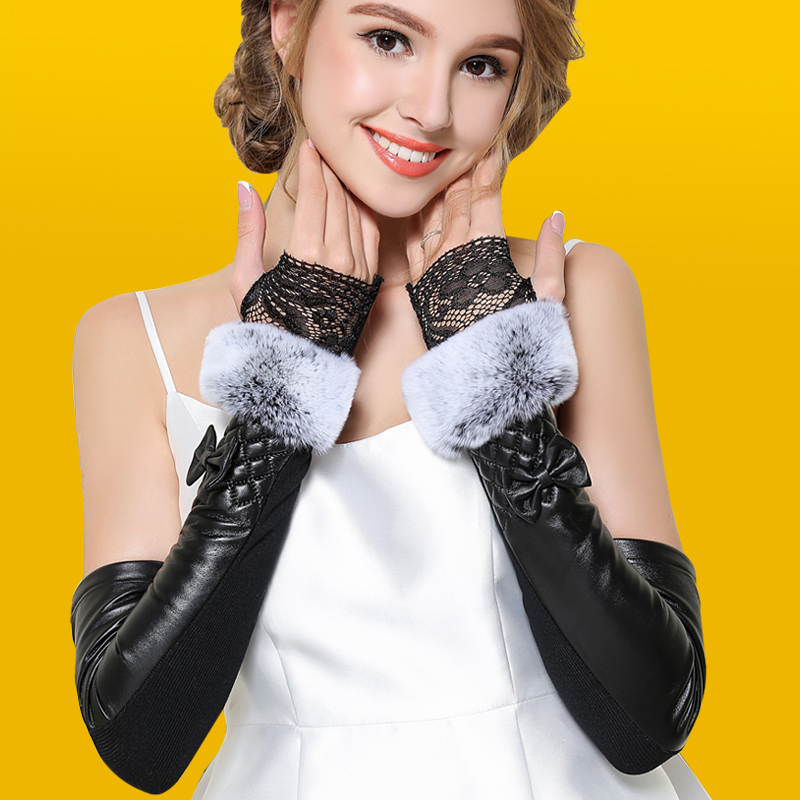 Leather gloves womens winter lace Half Finger rabbit hair Plush warm over elbow sheepskin arm sleeve leather sleeve