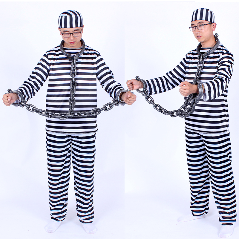 千奇坊萬聖節條子與囚犯衣服囚人服裝女囚衣服男囚服男囚犯衣服